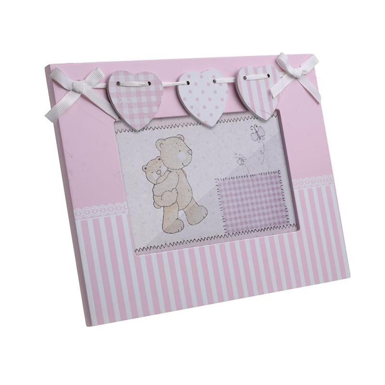 Rama foto Pink Hearts, InArt, 17 x 22 cm, polirasina, alb/roz