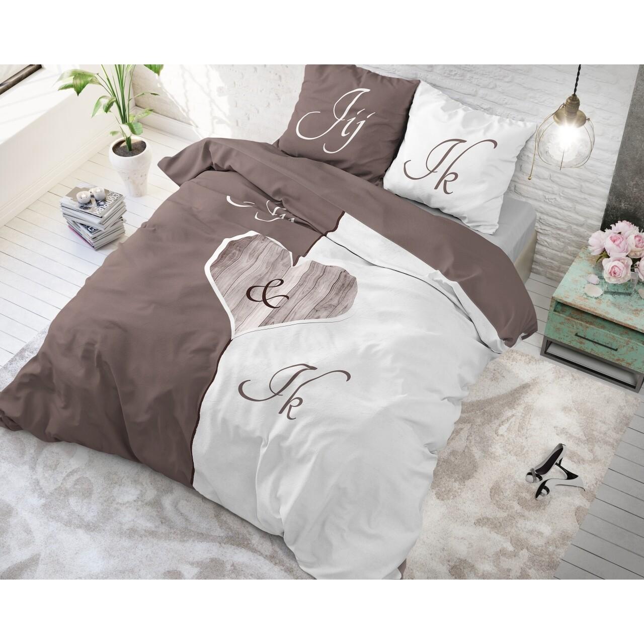 Lenjerie de pat dubla Jij en Ik Cream, Royal Textile, 3 piese, 200 x 220 cm, 100% bumbac