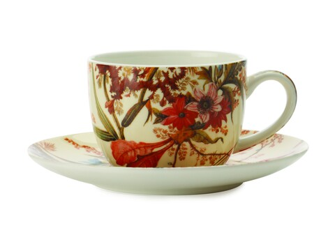 Ceasca cu farfurie Cottage Blossom, Maxwell & Williams, 100 ml, portelan, multicolor
