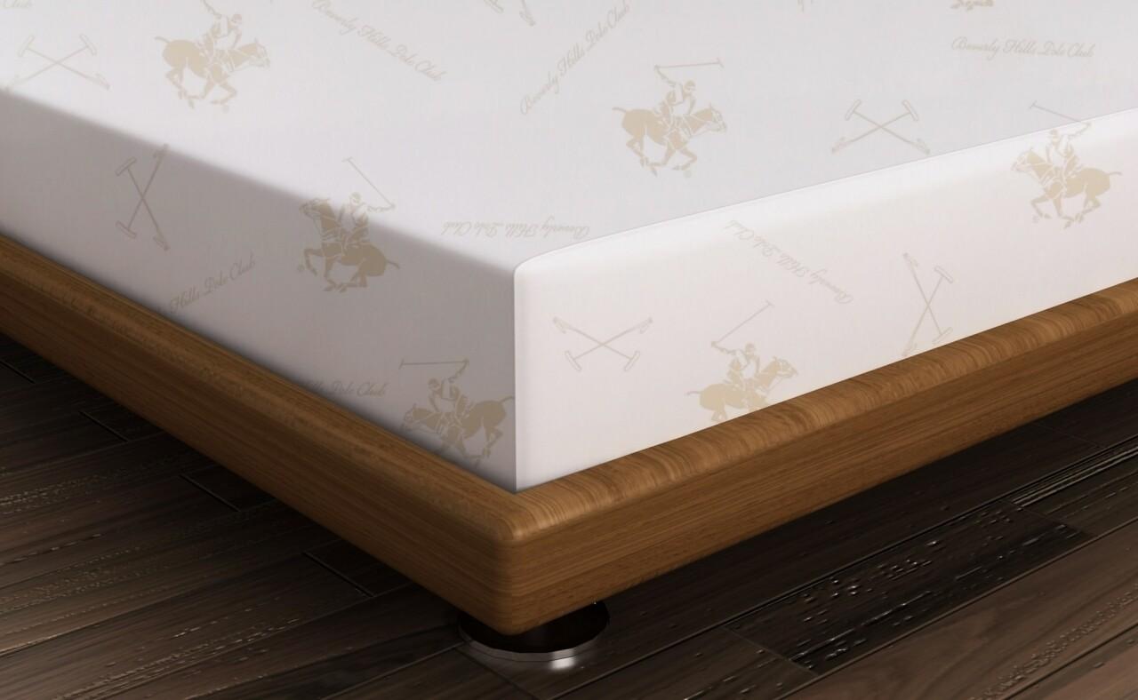 Cearceaf de pat pentru o persoana BHPC 024 - Cream, Beverly Hills Polo Club, 180x240 cm, 100% bumbac ranforce, alb/crem