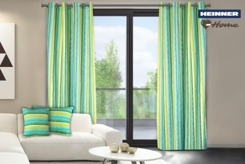 Set 2 draperii decorative, 100% bumbac, Green Stripes