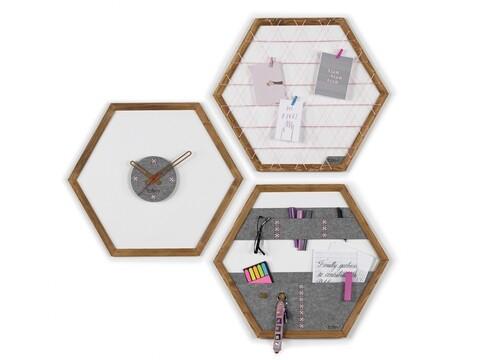 Set ceas de perete, panou memo si organizator de perete Rafevi Tuva, 60 x 52 cm, roz