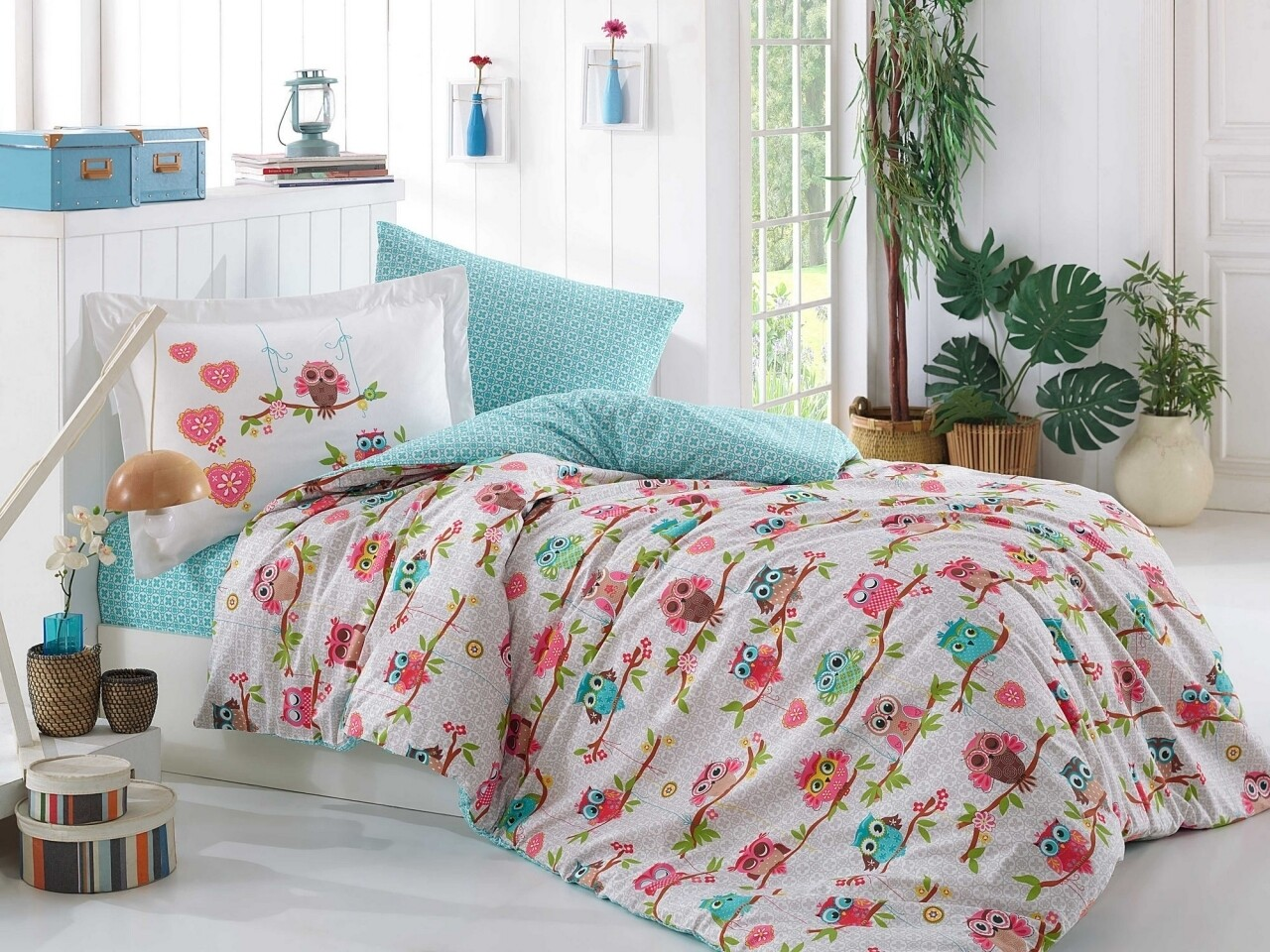 Lenjerie de pat pentru o persoana, 3 piese, 100% bumbac poplin, Hobby, Candy Pink, multicolora