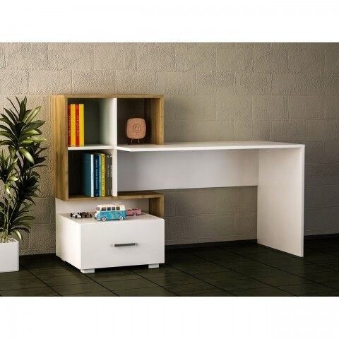 Birou Wooden Art, Bloom White Walnut, 152.7x105.6x60 cm