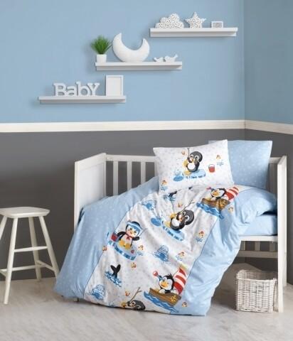 Lenjerie de pat pentru copii, 4 piese, 100% bumbac ranforce, Cotton Box, Pinguin