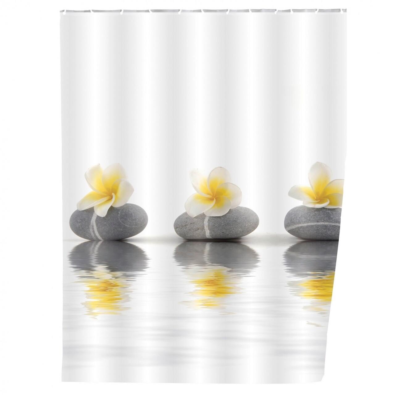 Perdea de dus Stones with Flower, Wenko, 180x200 cm, 100% poliester, multicolor