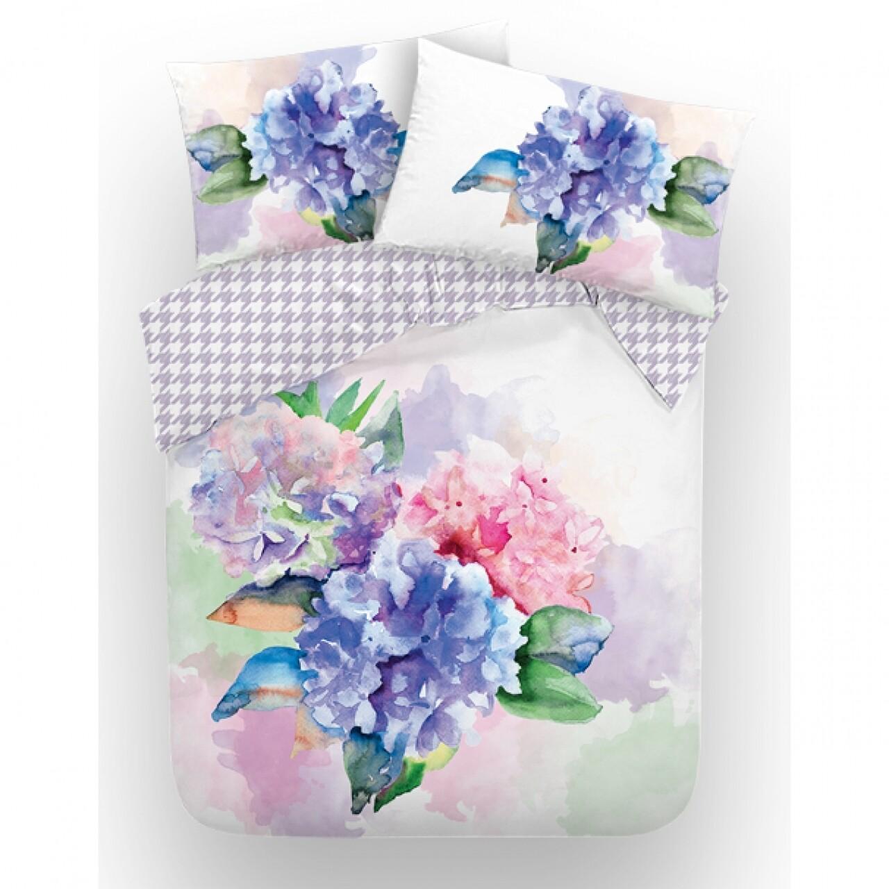 Lenjerie de pat dubla Bouquet, Aglika, 3 piese, 200 x 220 cm, 100% bumbac, multicolora