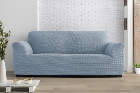 Husa elastica canapea, Belmarti, Milos, 3 locuri, albastru