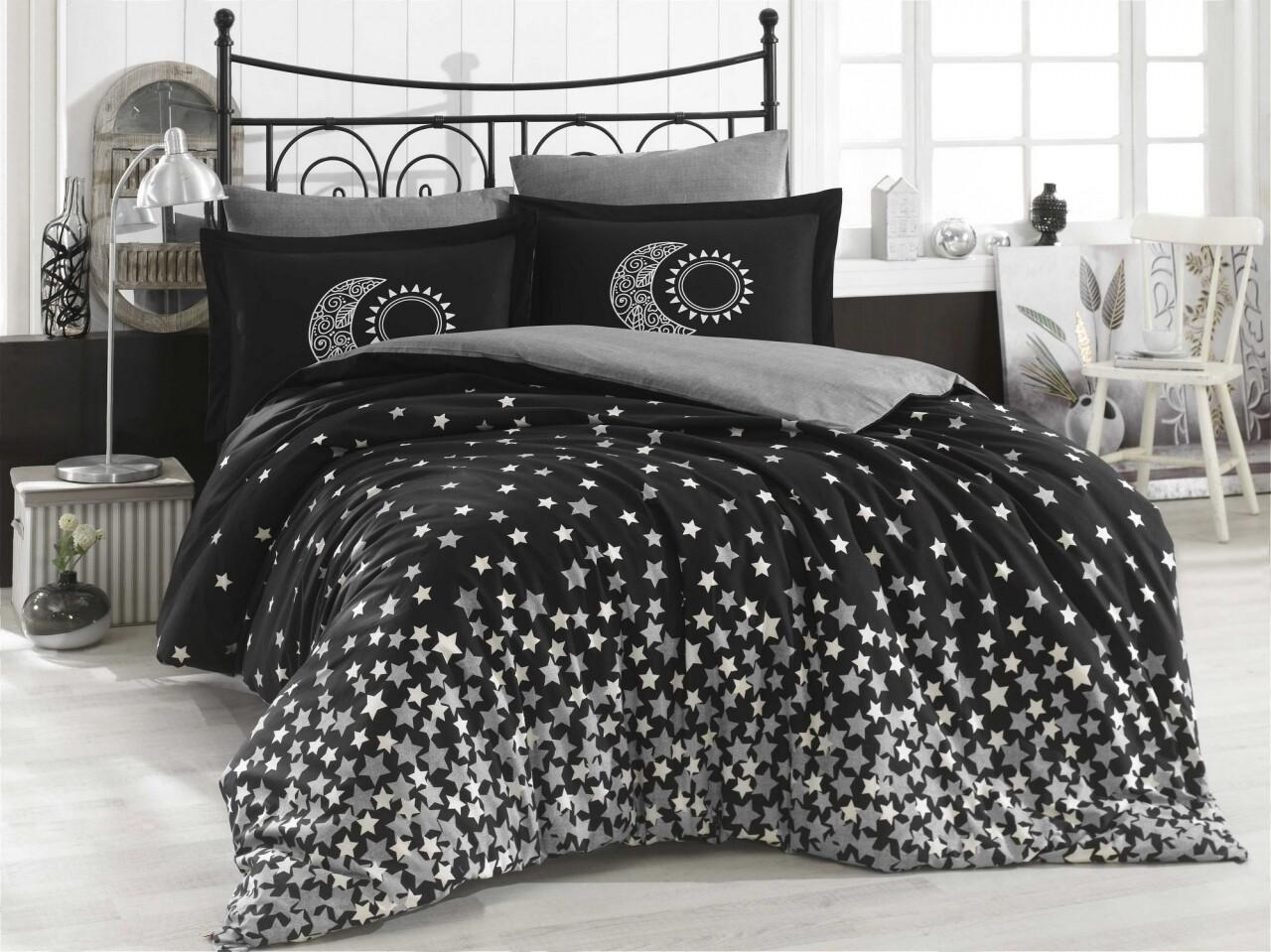 Lenjerie de pat dubla, 4 piese, 100% bumbac poplin, Hobby, Star's, alb/negru