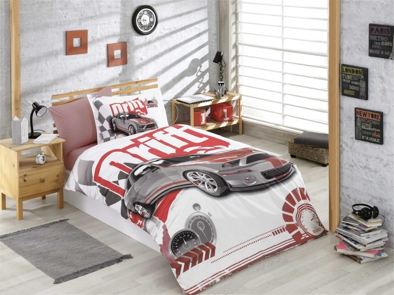 Lenjerie de pat pentru o persoana, 3 piese, 100% bumbac poplin, Hobby, Drift Red, multicolora