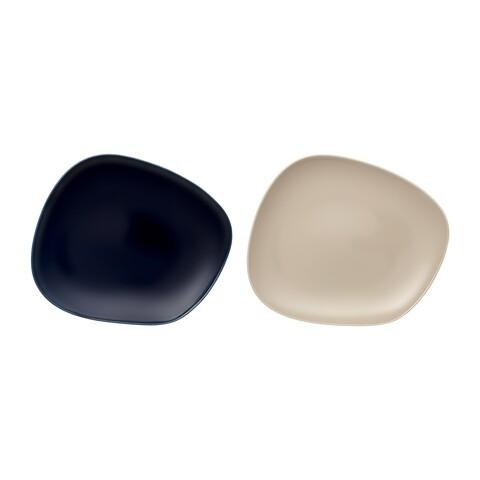Set 2 farfurii intinse, Like Villeroy & Boch, Organic EC Dark Blue/Sand, 27.3 cm, portelan