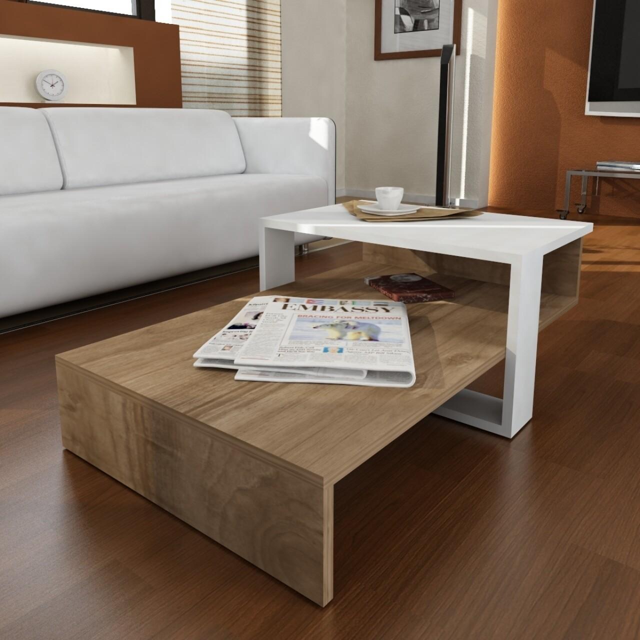 Masuta pentru living, Wooden Art, Chain White Walnut, 80x32.6x43.6 cm
