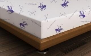 Cearceaf de pat pentru o persoana, 180x240 cm, 100% bumbac ranforce, Beverly Hills Polo Club, Alb/Mov
