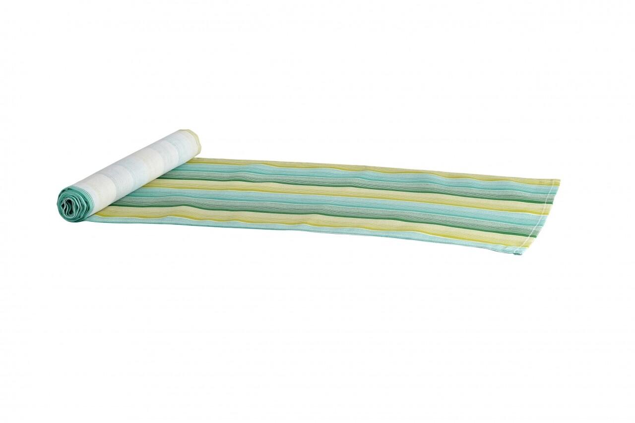 Traversa pentru masa Green Stripes, Heinner Home, 33 x 180 cm, 100% bumbac, verde