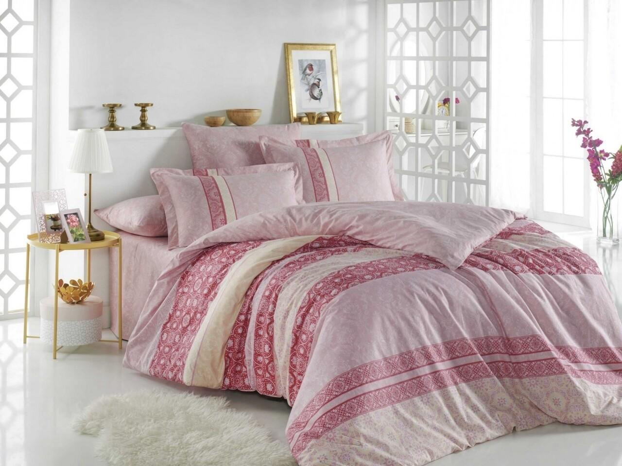 Lenjerie de pat pentru o persoana, 3 piese, 100% bumbac poplin, Hobby, Emma, roz