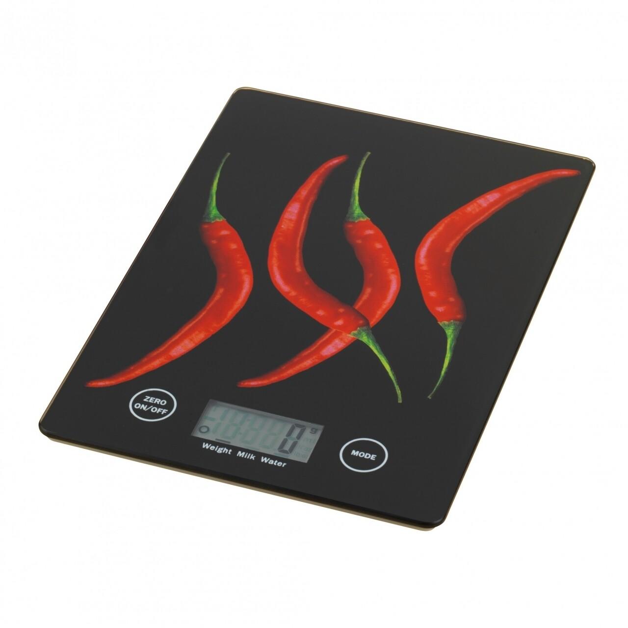 Cantar digital de bucatarie Cafe Pepper, 14 x 19.5 x 1.2 cm, sticla termorezistenta, bej