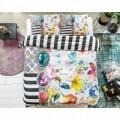 Lenjerie de pat dubla Aisha White, Melli Mello, 3 piese, 200 x 220 cm, 100% bumbac satinat, multicolora