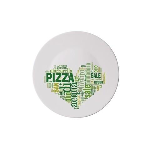 Platou pentru servire I love pizza, Bormioli, Ø33 cm, opal, verde
