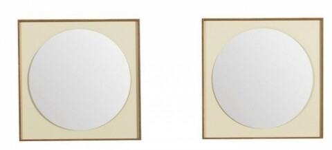 Oglinda dubla Circle, Heinner, 60 x 10 x 60 cm, MDF/sticla, crem/maro