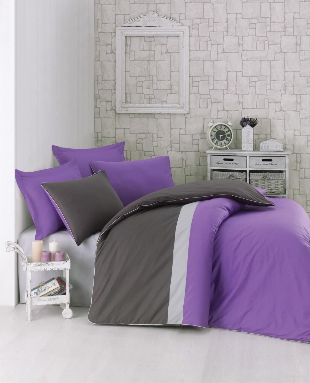 Lenjerie de pat pentru o persoana, 3 piese, 100% bumbac ranforce, Cotton Box, Plain Sport Purple