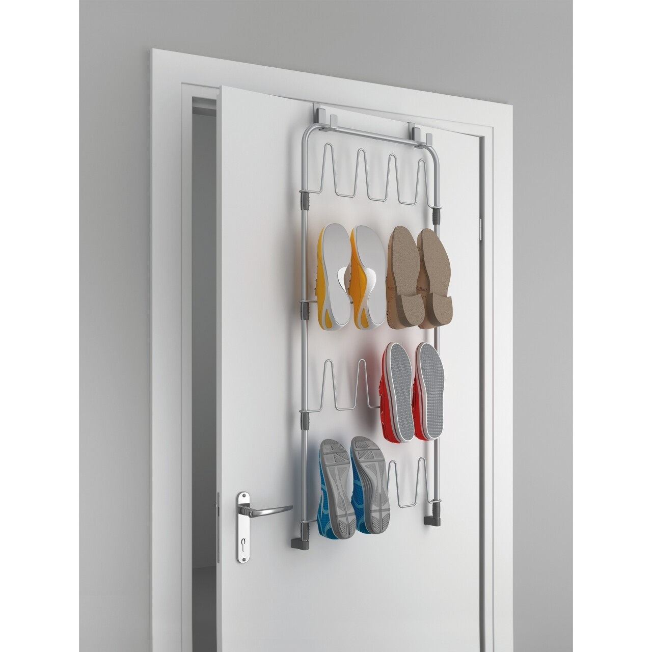 Suport suspendabil pentru depozitarea pantofilor Metaltex, 45x5x103 cm, metal/invelis plastic, argintiu