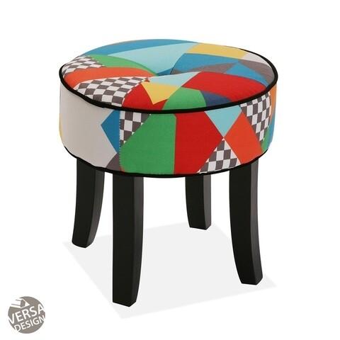 Taburet, Versa, Redondo Brais, 35 cm Ø, lemn/poliester, multicolor