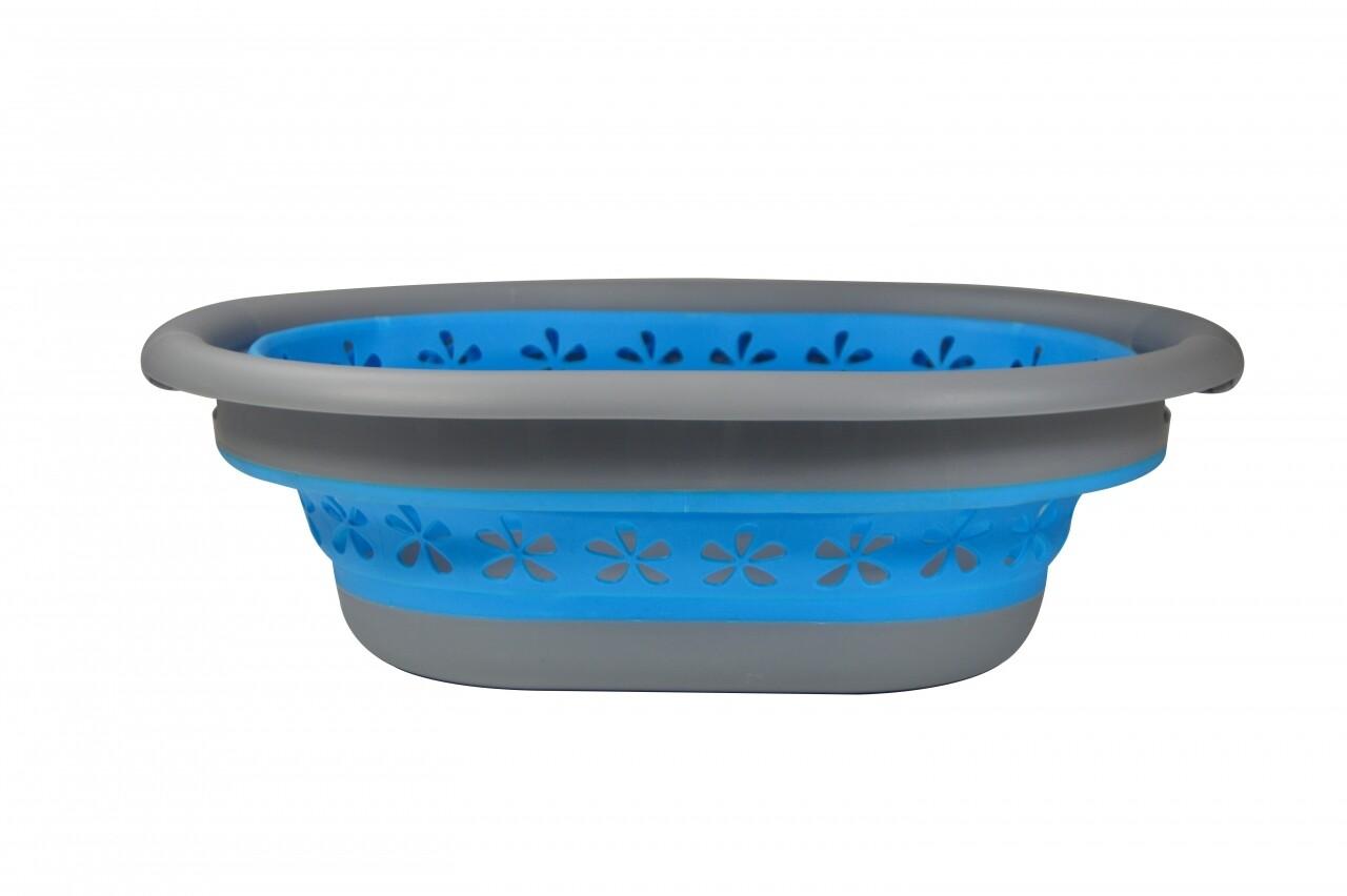 Cos pliabil pentru rufe Blue/Grey Jocca, 50 x 37.5 x 26.5 cm (10 l), plastic/silicon, albastru/gri