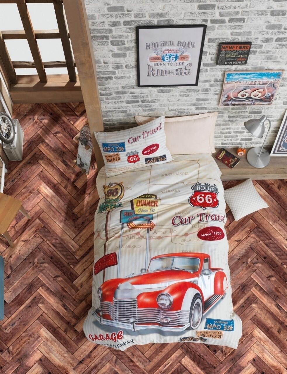 Lenjerie de pat pentru o persoana, 3 piese, 100% bumbac ranforce, Cotton Box, Route