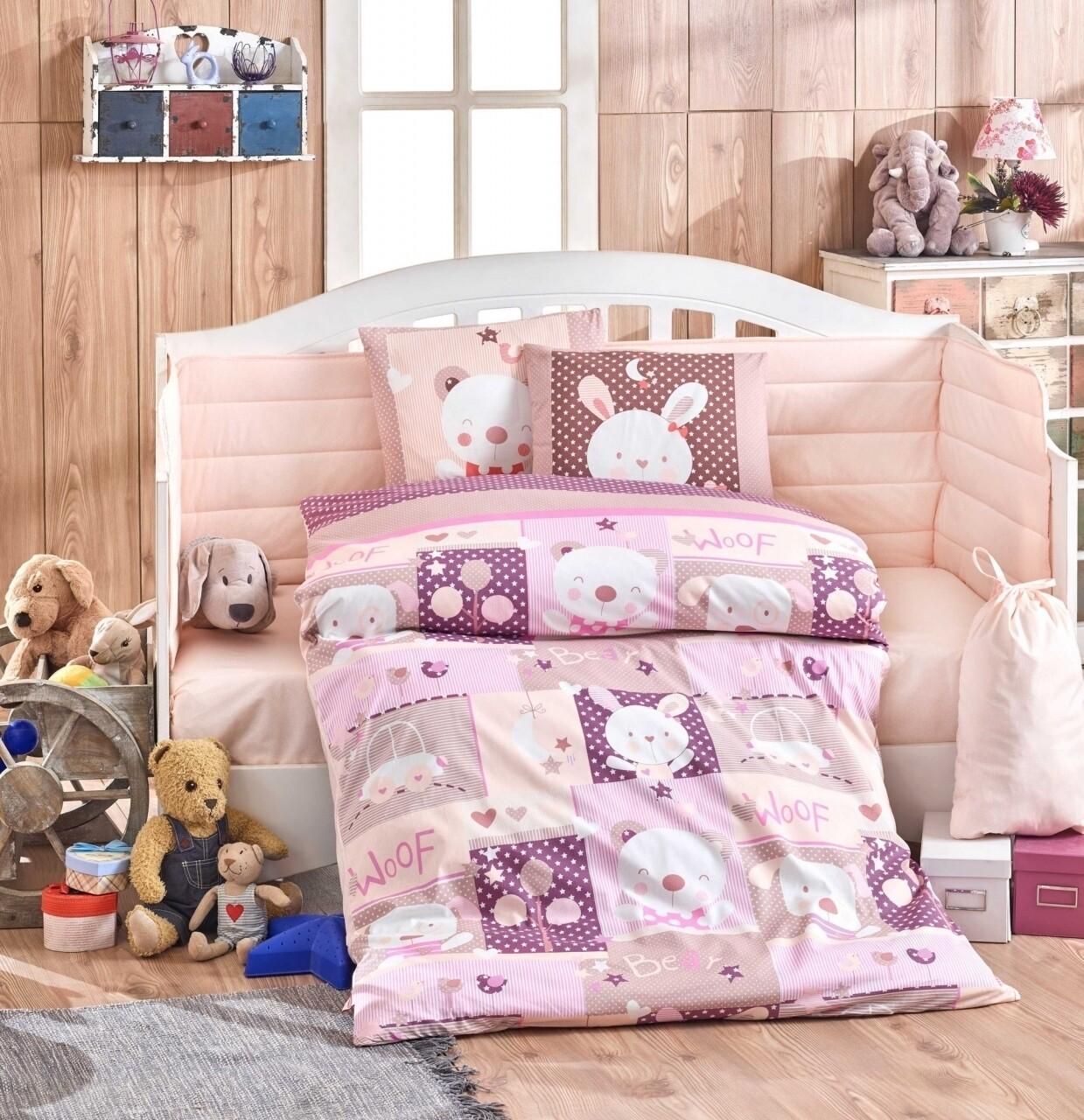 Lenjerie de pat pentru copii, 4 piese, 100% bumbac poplin, Hobby, Snoopy, roz