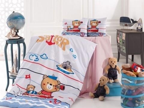 Lenjerie de pat pentru copii Sailor, Nazenin Home, 4 piese, 120 x 160 cm, 100% bumbac ranforce, multicolora