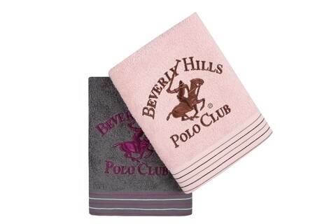 Set 2 prosoape de maini, Beverly Hills Polo Club, Dark Grey Pink, 50 x 100 cm, 100% bumbac