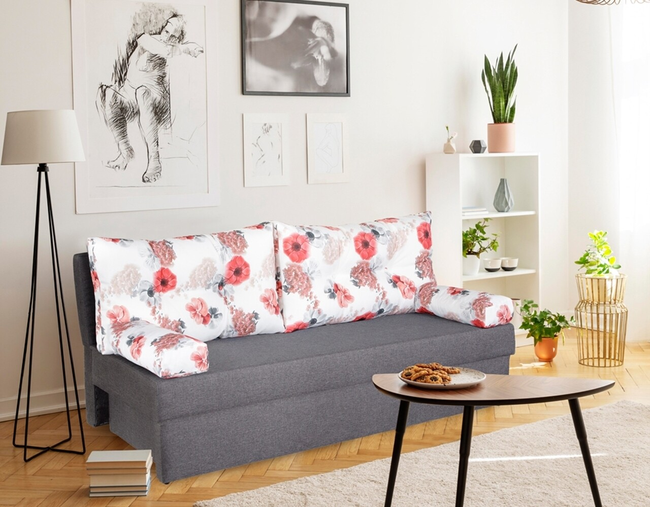 Canapea extensibila Alfi Grey 192x80x77 cm cu lada de depozitare, Roses Flower