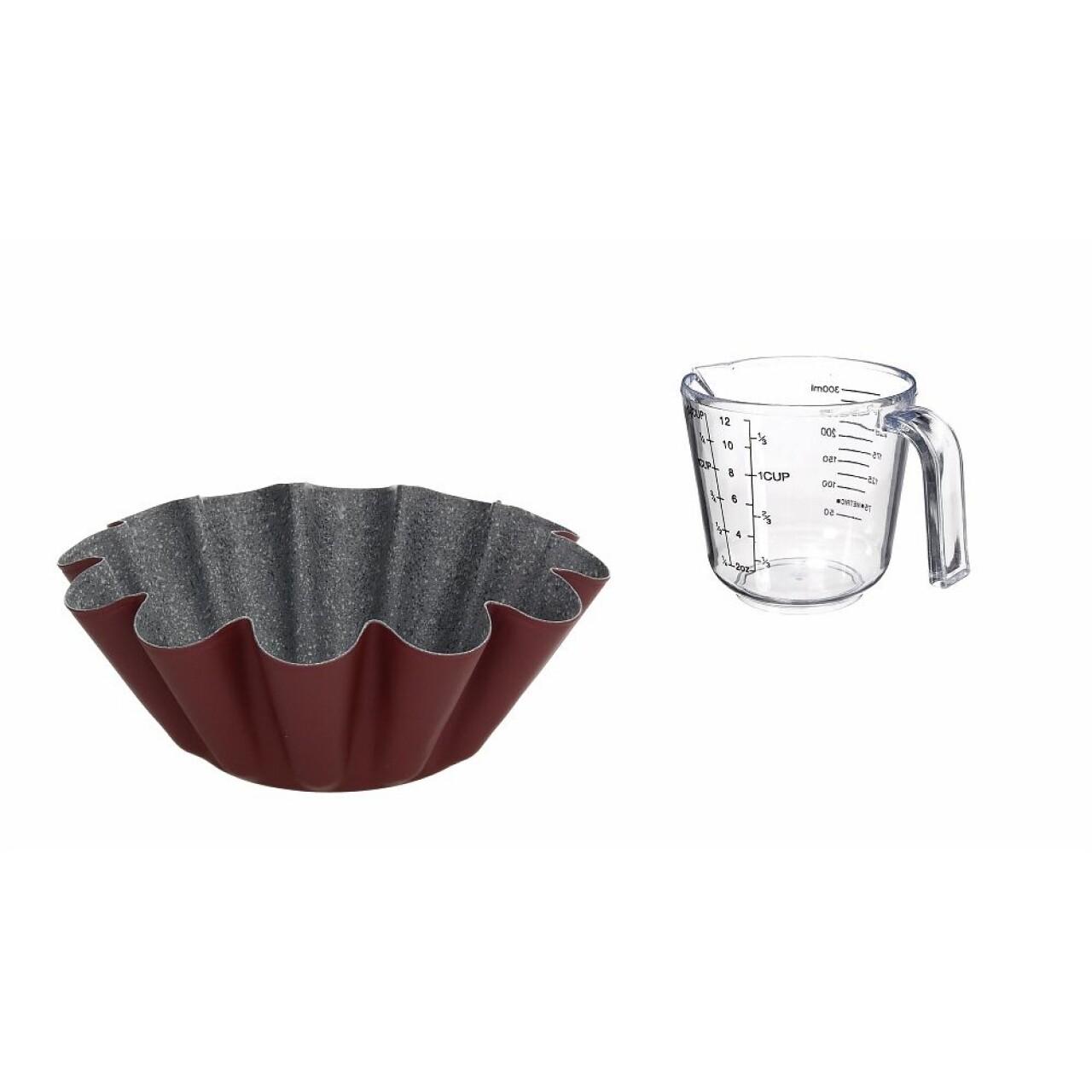 Set forma pentru budinca + cana de masurat 500 ml, Sweet Cherry, Tognana, otel carbon/plastic