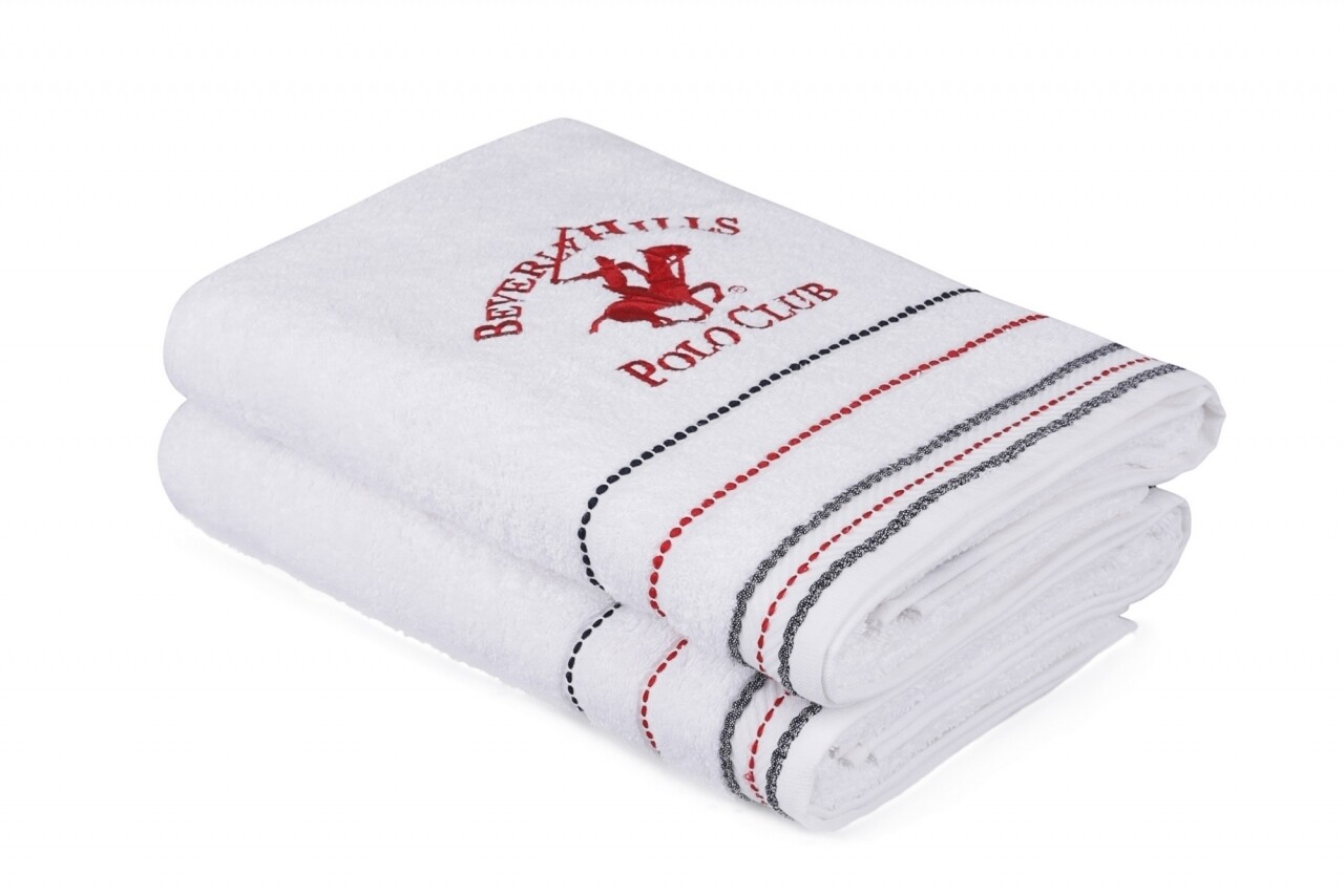 Set 2 prosoape de baie, Beverly Hills Polo Club, 70x140 cm, 100% bumbac, alb 47
