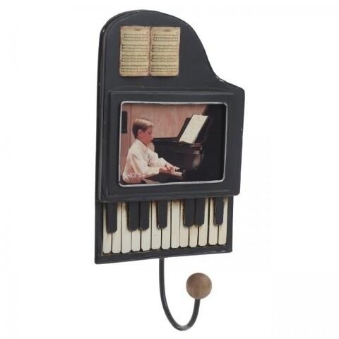 Cuier decorativ Piano, InArt, o agatatoare, 15.5 x 8 x 29.5 cm, metal, negru, alb, bej