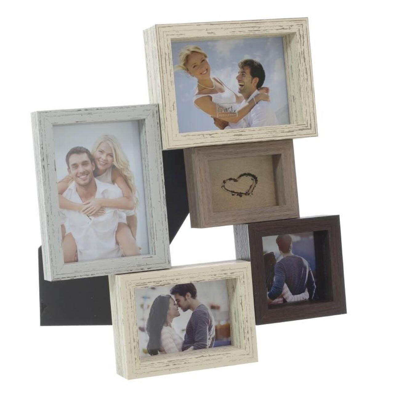Rama foto Memories, InArt, 5 fotografii, 27 x 31 cm, plastic/sticla, natur