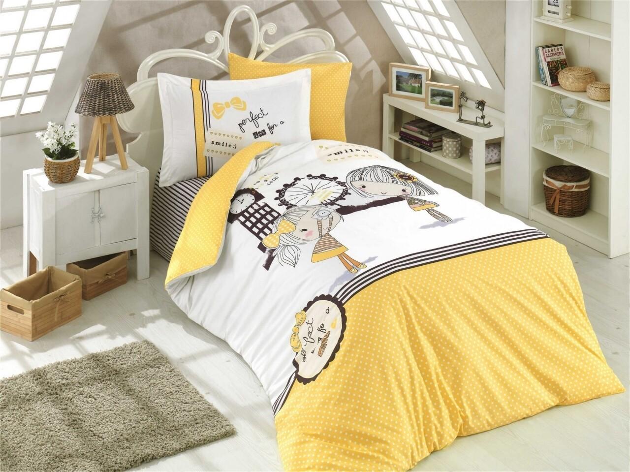 Lenjerie de pat pentru o persoana, Smile Yellow, Hobby, 3 piese, 160 x 240 cm, 100% bumbac poplin, alb/galben