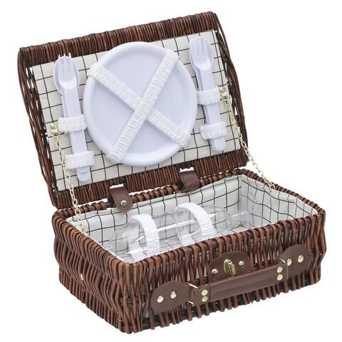Cos de picnic pentru 2 persoane, InArt, 32x23x13 cm, maro
