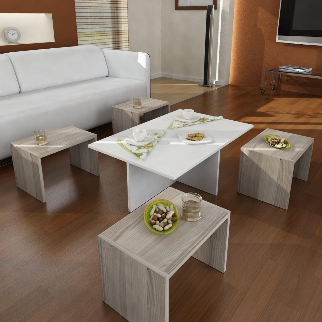 Set 5 masute pentru living, Wooden Art, Chest White Cordoba