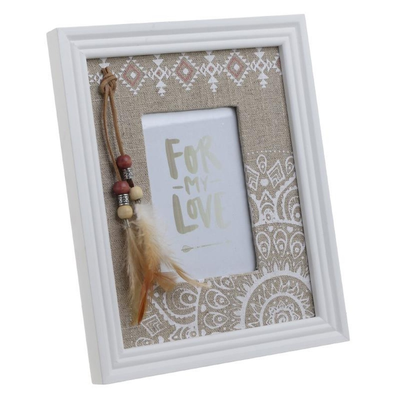 Rama foto For my love, InArt, 20 x 24 cm, lemn, alb/natur