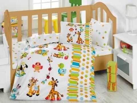 Lenjerie de pat pentru copii, 4 piese, 100% bumbac ranforce, Cotton Box, Animalute