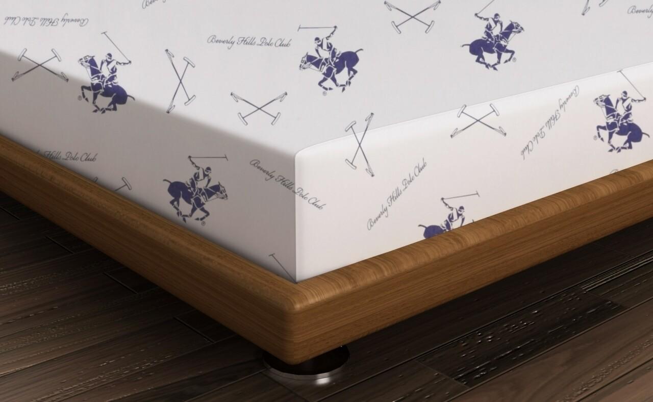 Cearceaf de pat dublu, 240x260 cm, 100% bumbac ranforce, Beverly Hills Polo Club, alb/albastru