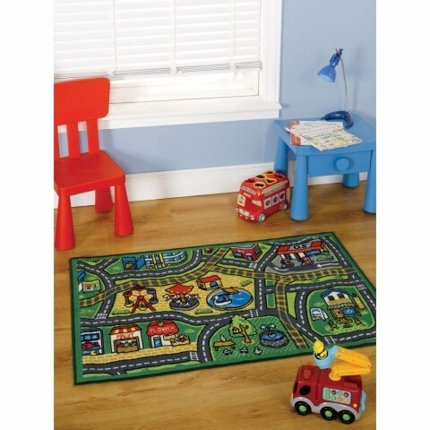 Covor Matrix Kiddy Happy Town Red/Blue 80X120