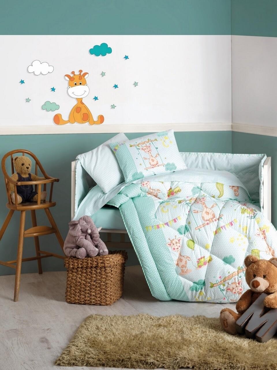 Set de pat pentru copii, 6 piese, 100% bumbac ranforce, Cotton Box, Zurafa