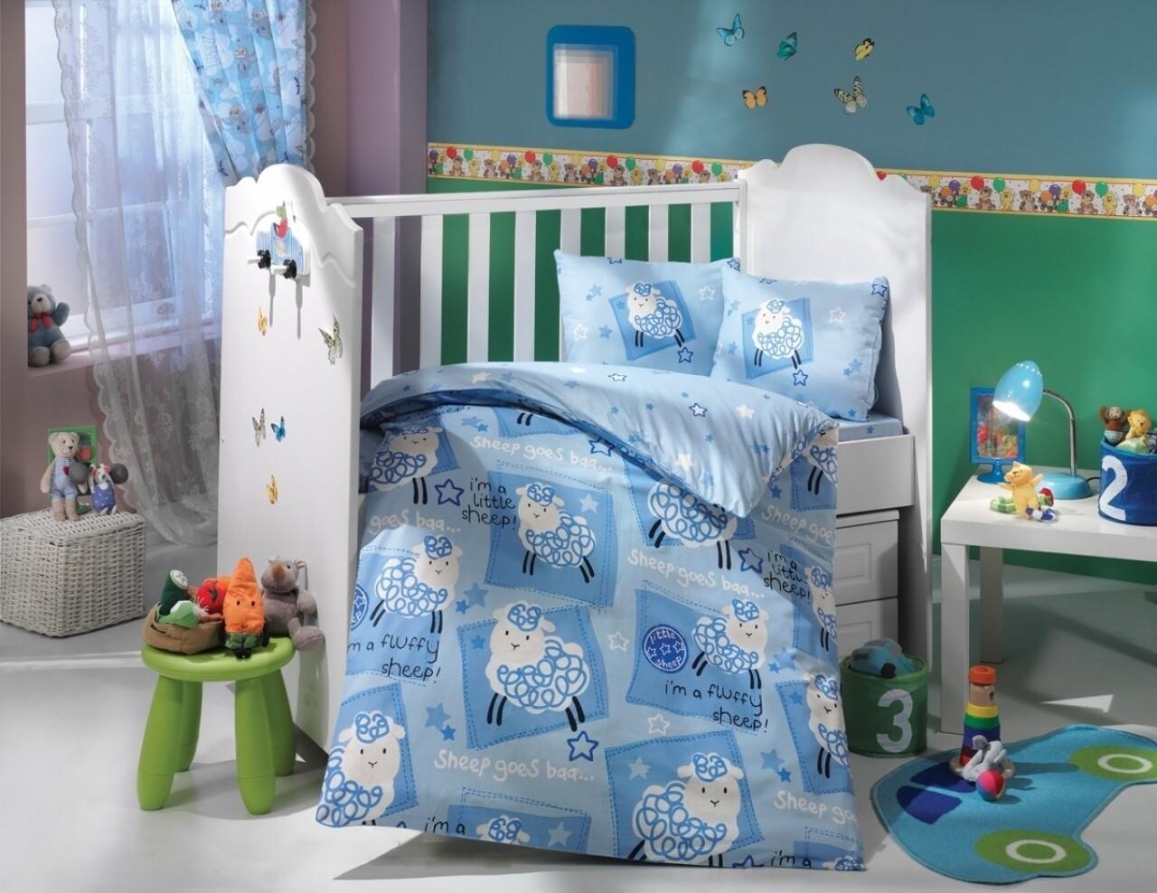 Lenjerie de pat pentru copii, 4 piese, 100% bumbac poplin, Hobby, Little Sheep, albastru