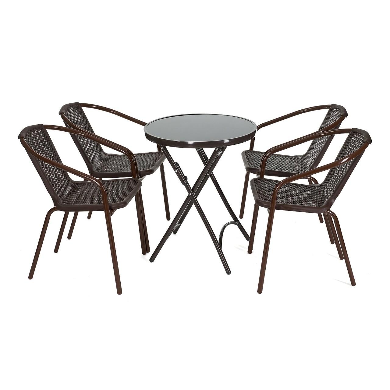 Set mobilier de gradina Royal, Heinner Home, 5 piese, plastic/sticla/otel, maro
