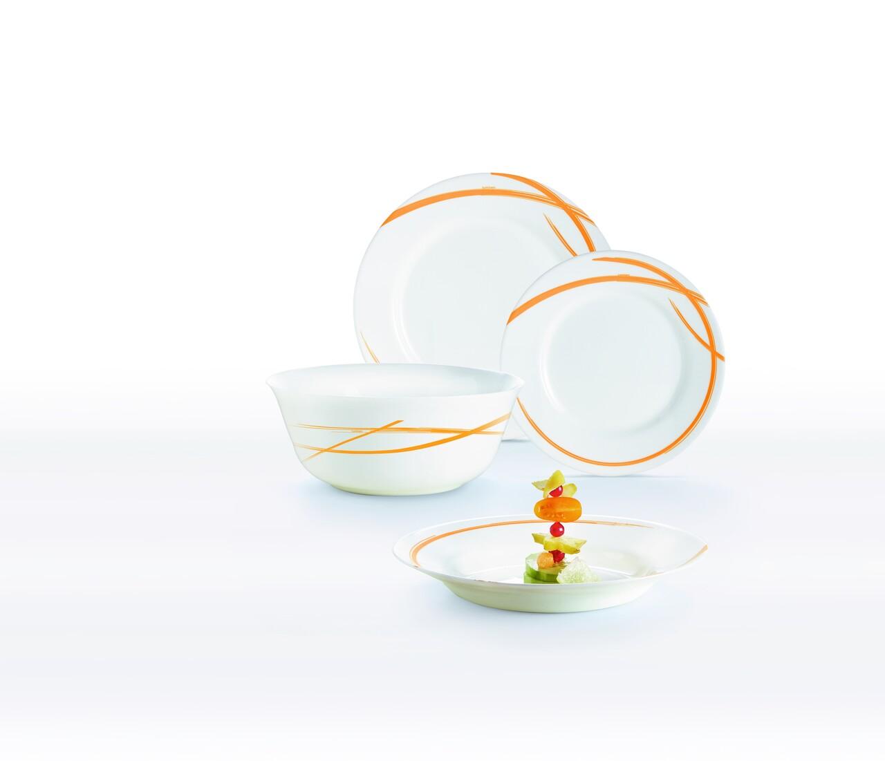 Serviciu de masa 19 piese Fairy Orange, Luminarc, opal, alb/portocaliu