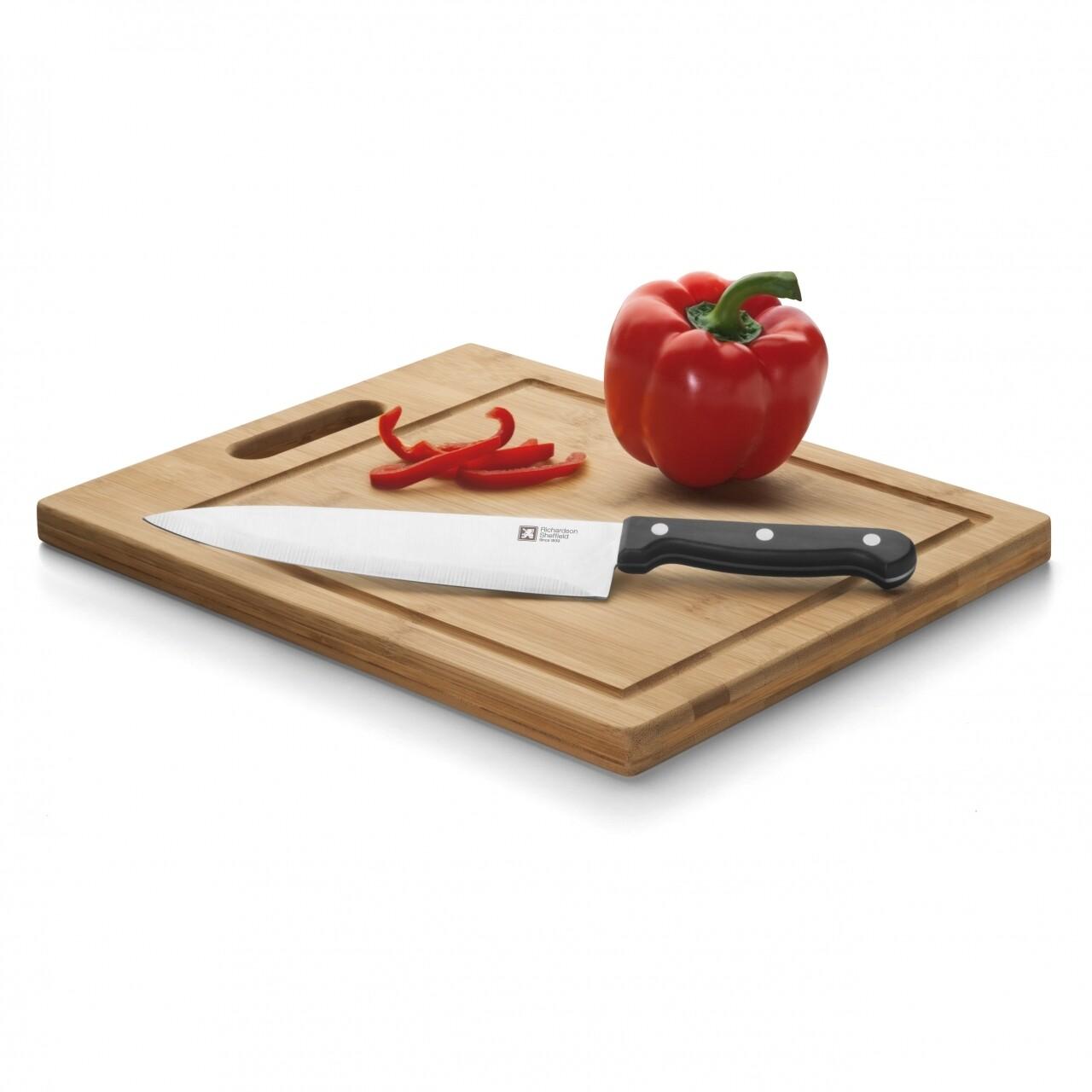 Set cutit chef si tocator 20 cm, Amefa, lemn/inox