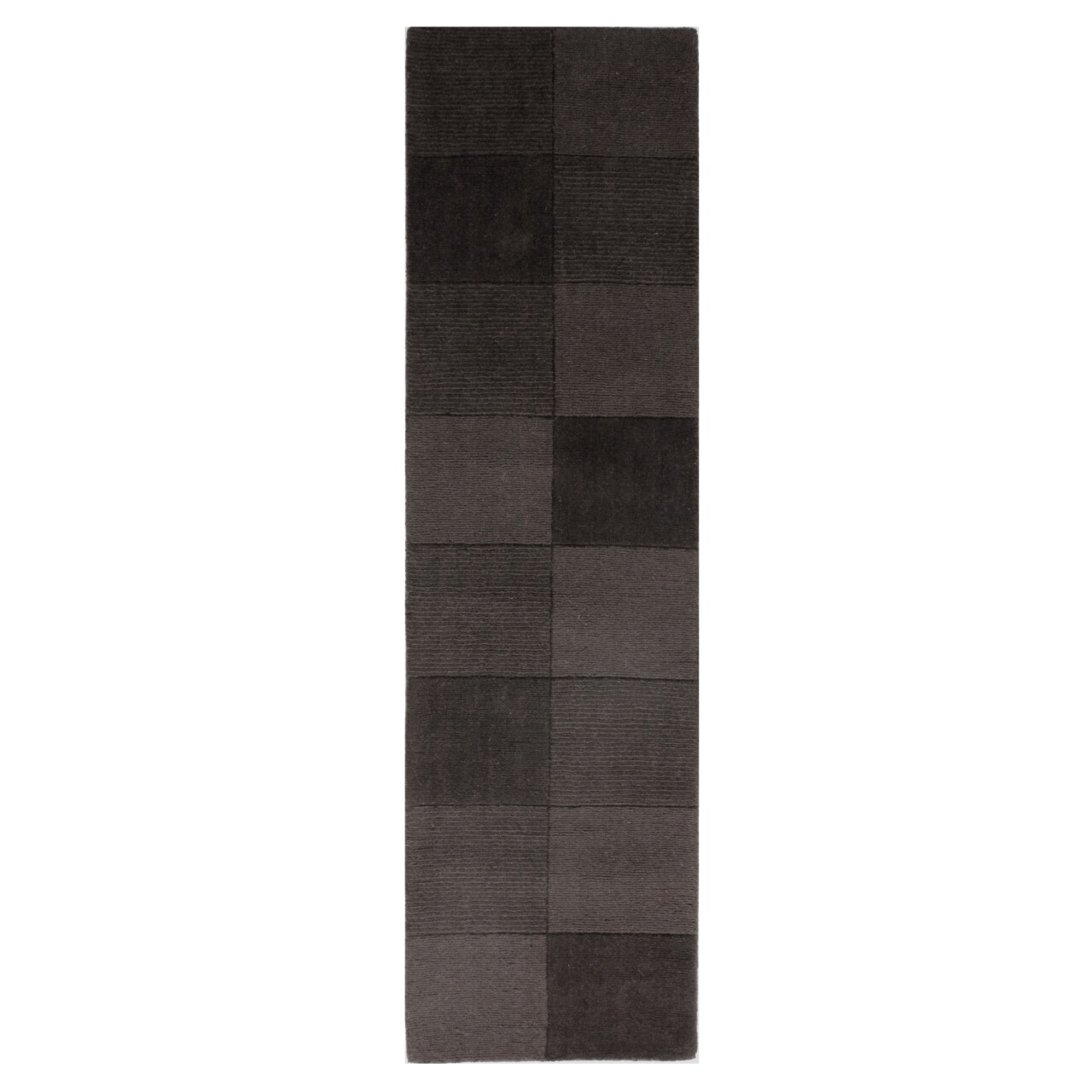 Covor Wool Squares Black , Flair Rugs, 60 x 230 cm, 100% lana, negru