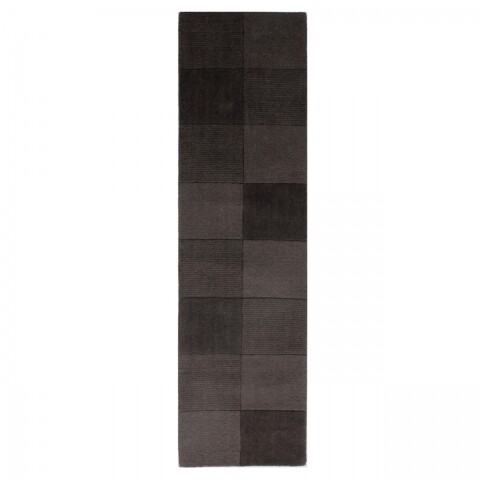 Covor Wool Squares Black , Flair Rugs, 60 x 230 cm, 100% lana, negru